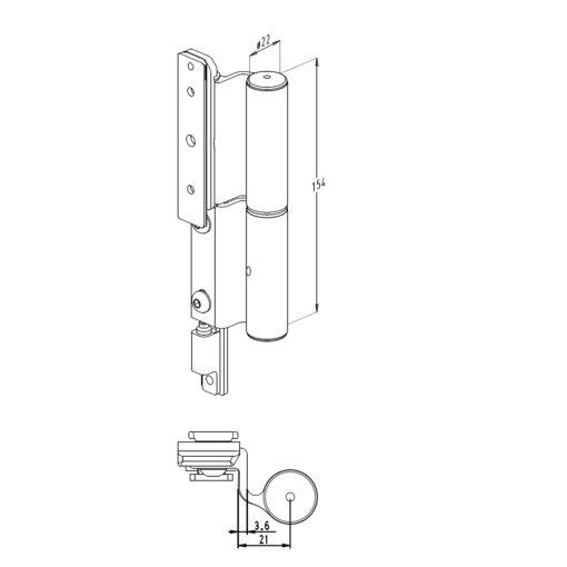 Sobinco scharnier 2800-2 voor buitendraaiende deuren - Technische tekening