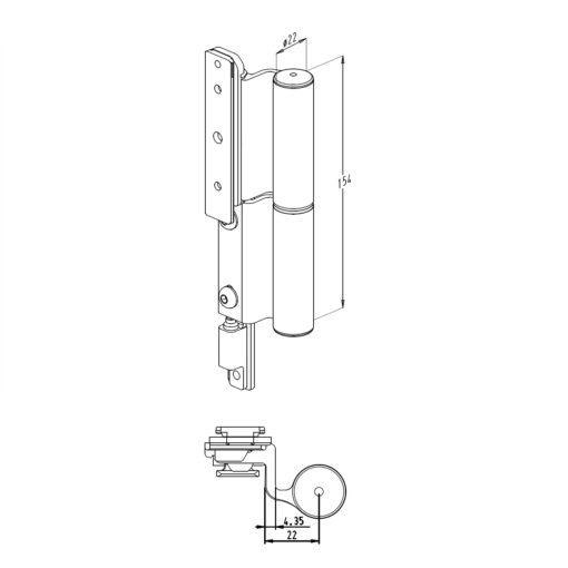 Sobinco scharnier 2800-3 voor binnendraaiende deuren - Technische tekening