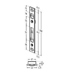 Sobinco sluitplaat 85020-22 - Technische tekening