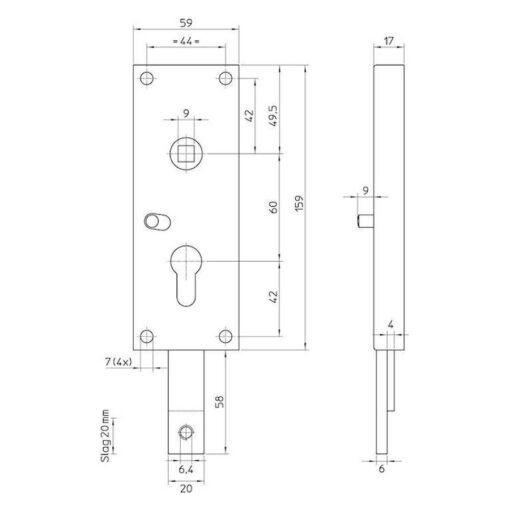 Nemef 1806 02 poortslot - Technische tekening