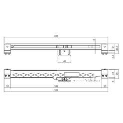 Sluitvertrager zwart schuifdeursysteem Intersteel universeel - Technische tekening