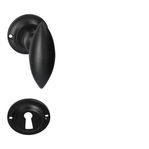 HDD PRO 6.407.090 deurkruk Olina - Mat zwart - Rozet met baardopening