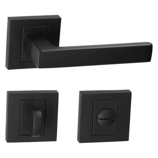 Kuchinox Qubik II deurkruk - Mat zwart - Rozet met WC sluiting
