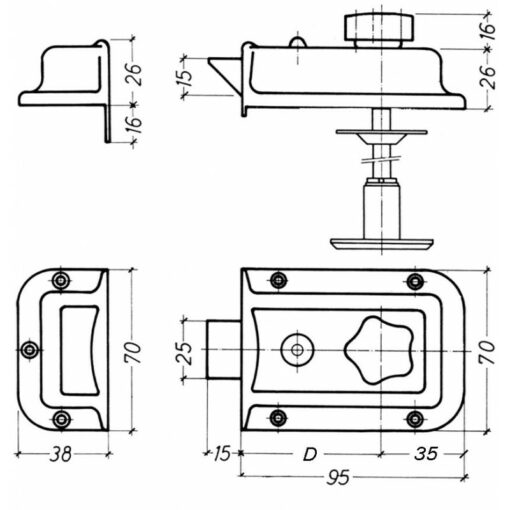 Litto B3821 oplegslot met dagschoot - Technische tekening