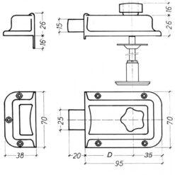 Litto B4821 oplegslot met nachtschoot - Technische tekening
