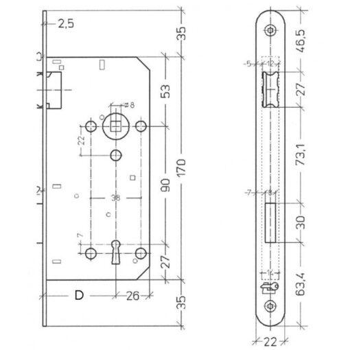 Litto baardslot A1390 - Technische tekening