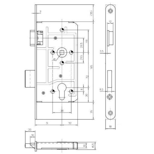KFV 113 PZW cilinderslot - Technische tekening