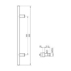 WALA rechthoekige deurgreep met rechte kant - Zwart - Technische tekening
