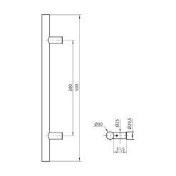 WALA ronde deurgreep met rechte kant - Zwart - Technische tekening