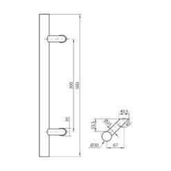 WALA ronde deurgreep met schuine kant - Zwart - Technische tekening