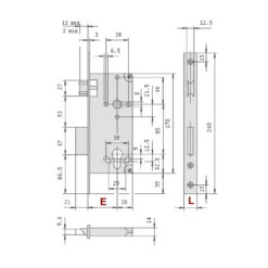 Cisa 5C120 rolslot - Technische tekening