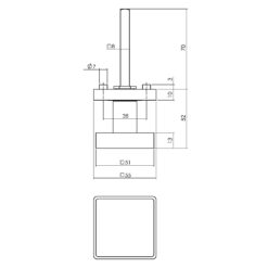 Intersteel 0023.212602 - Zwarte vaste deurknop vierkant - Technische tekening