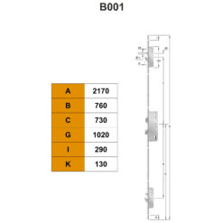 KFV AS2600 meerpuntsluiting B001 - Technische tekening