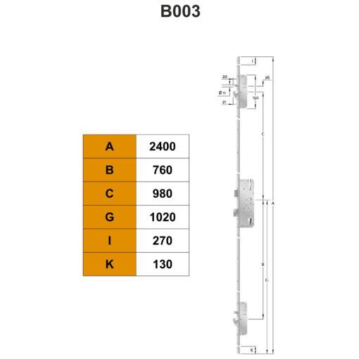 KFV AS2600 meerpuntsluiting B003 - Technische tekening