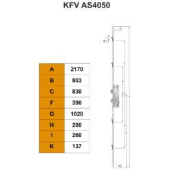 KFV AS4050 krukbediend meerpuntsluiting - Technische tekening