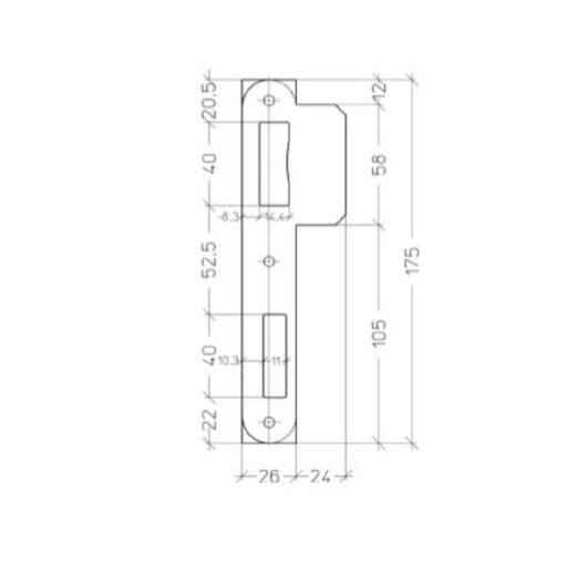 Litto PA0522N 00 zwarte sluitplaat - Technische tekening