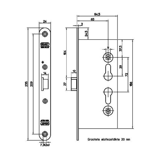 Nemef 9190117655 RVS voorplaat - Technische tekening