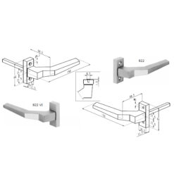 Sobinco 822 enkele deurgreep - Technische tekening