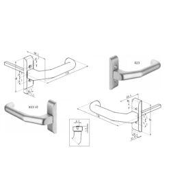 Sobinco 823 enkele deurgreep - Technische tekening