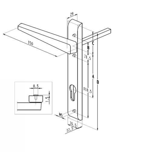 838L VI rolluikkruk - Buitenzijde - Technische tekening
