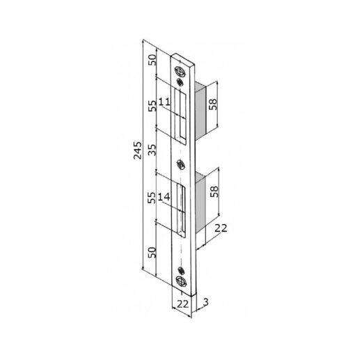 KFV sluitplaat 8050-573 - Voor aluminium deuren - Technische tekening