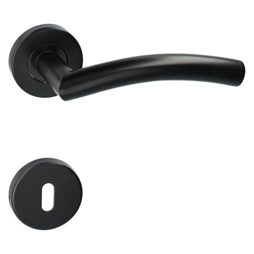 Kuchinox Faro deurkruk op ronde rozet - Mat zwart - Rozet met baardopening