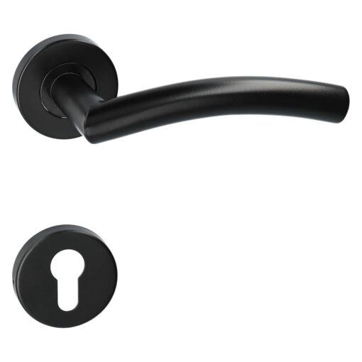 Kuchinox Faro deurkruk op ronde rozet - Mat zwart - Rozet met cilinder opening
