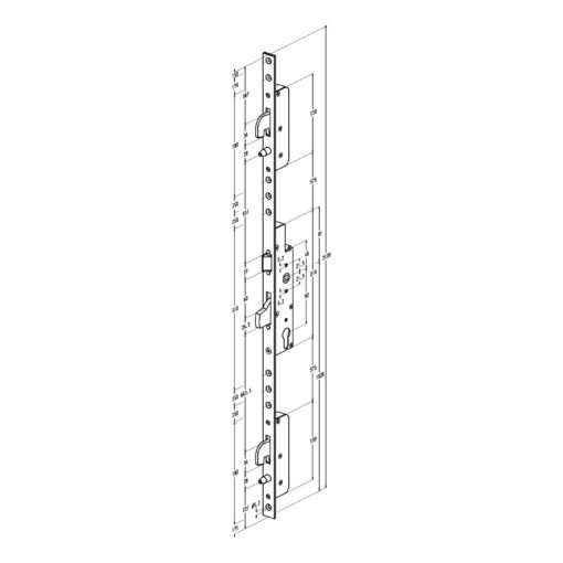 Sobinco 8431 meerpuntssluiting met haak-pin - Vlakke voorplaat - Technische tekening
