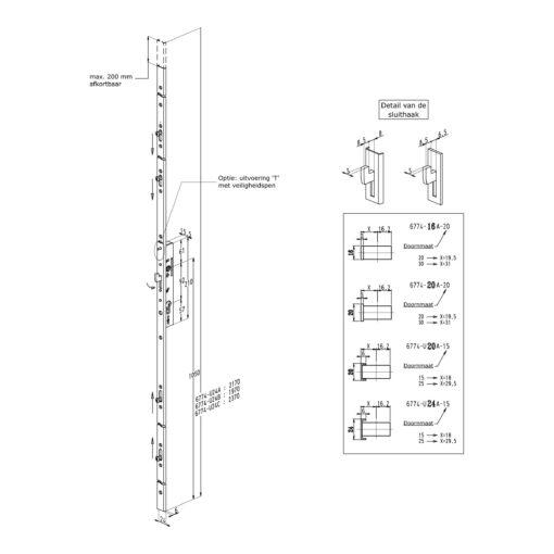 Sobinco Pentalock voor schuifdeuren 6774 - Technische tekening