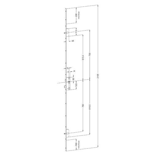 Winkhaus B2 meerpuntssluiting met 2 pinnen - Technische tekening